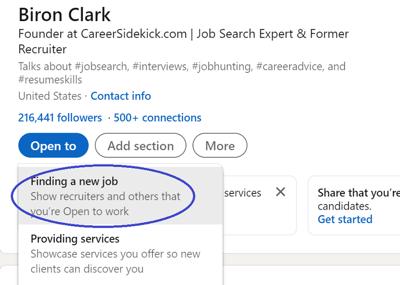 LinkedIn open to work - how to enable
