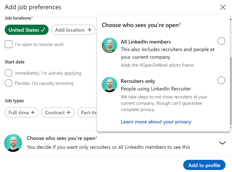 LinkedIn - let recruiters know you're open to jobs