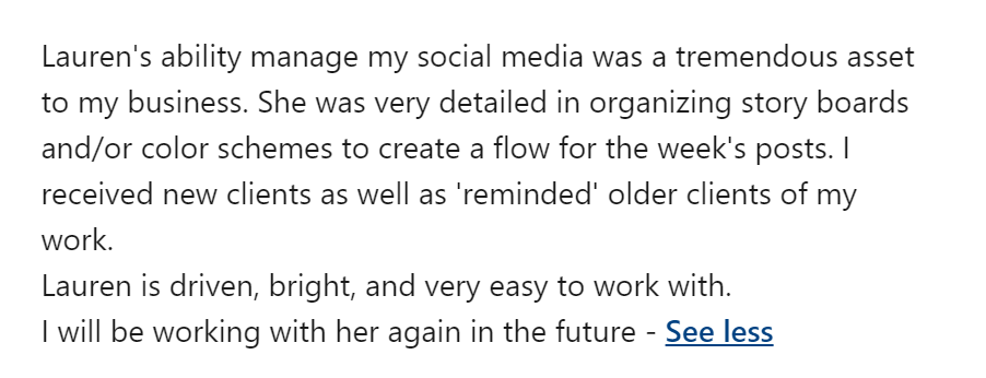 linkedin recommendation example 1