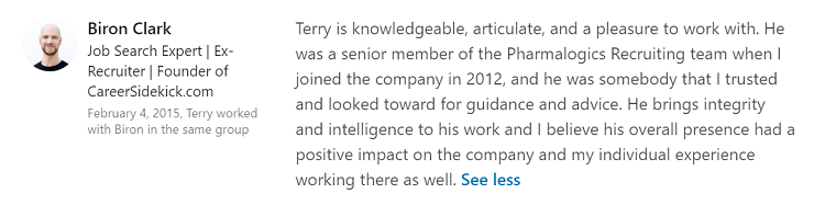 linkedin recommendation example 2 for terry