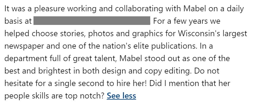 linkedin recommendation example for a colleague