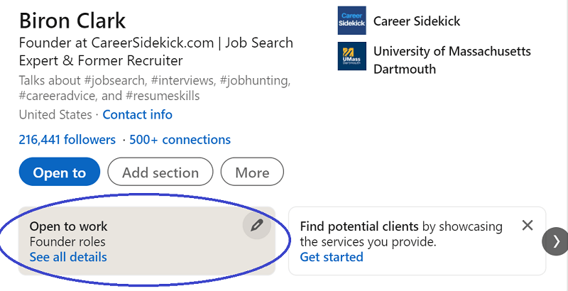 turn off looking for jobs on LinkedIn