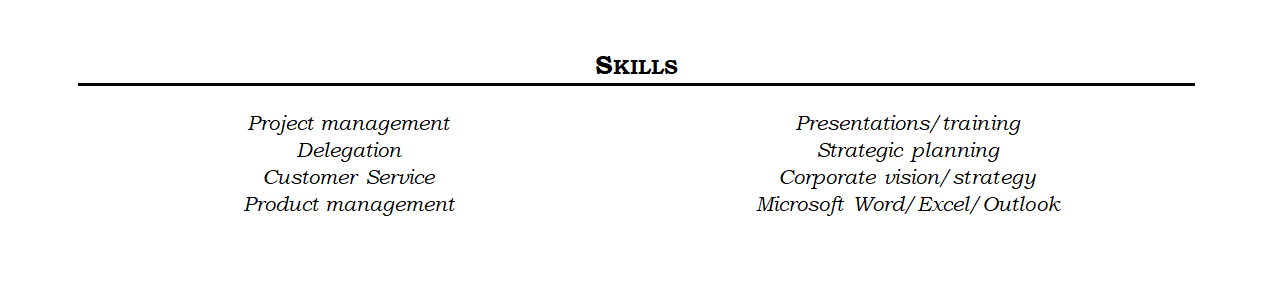 Sample Resume Skills Section