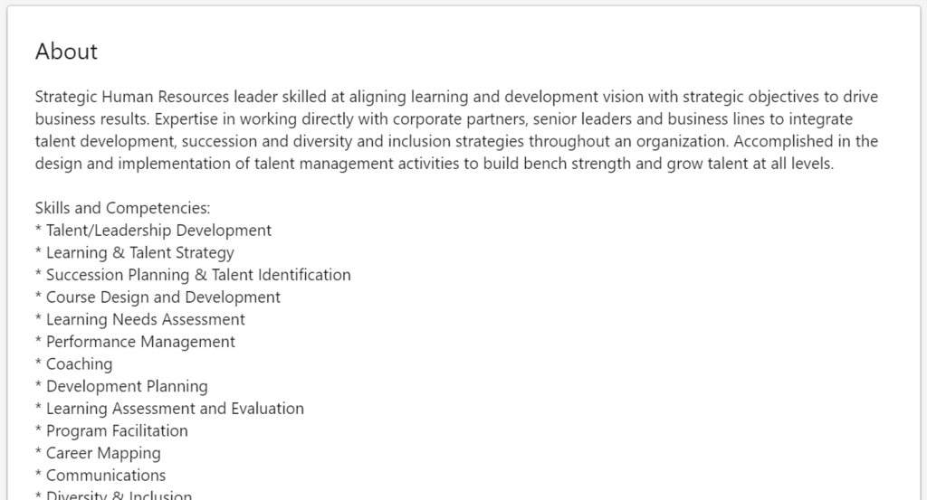 example of a linkedin summary with good formatting and keywords