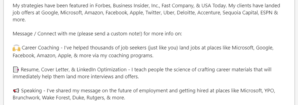 example of special formatting for linkedin summary section