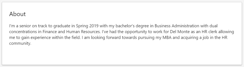 linkedin summary example for graduates