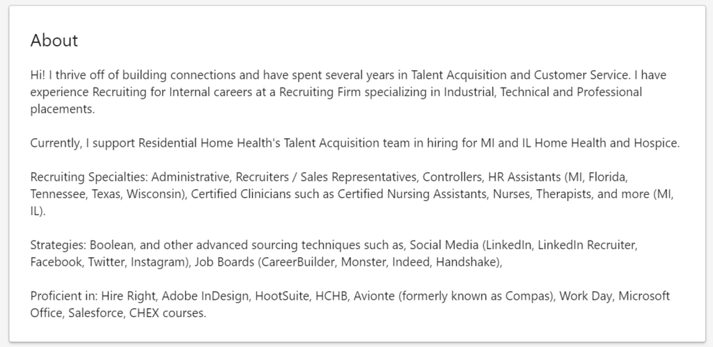 how to write a linkedin summary - nicely spaced with keywords