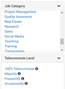 virtual vocations remote job board filters screenshot