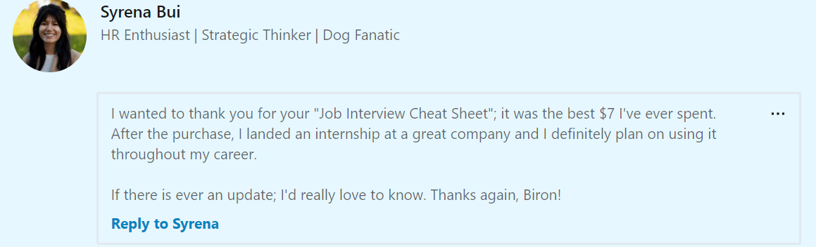 interview cheat sheet testimonial from linkedin
