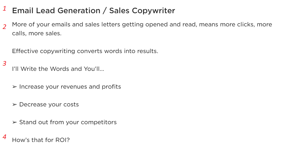 sales copywriter upwork profile sample