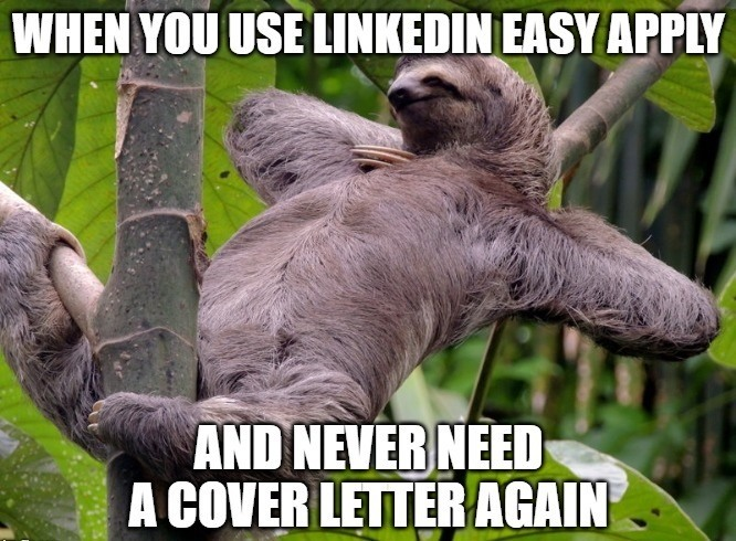 use linkedin to get a job without cover letters meme