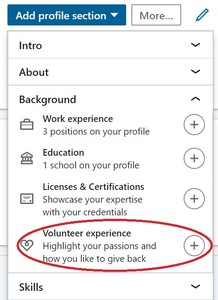how to use linkedin to land a job - volunteer experience