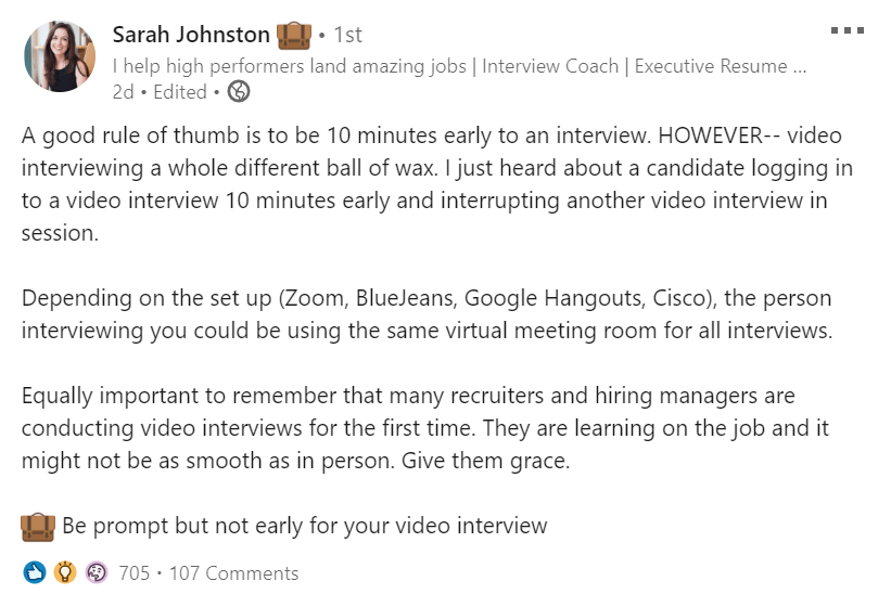 zoom interview tips - be on time but not early