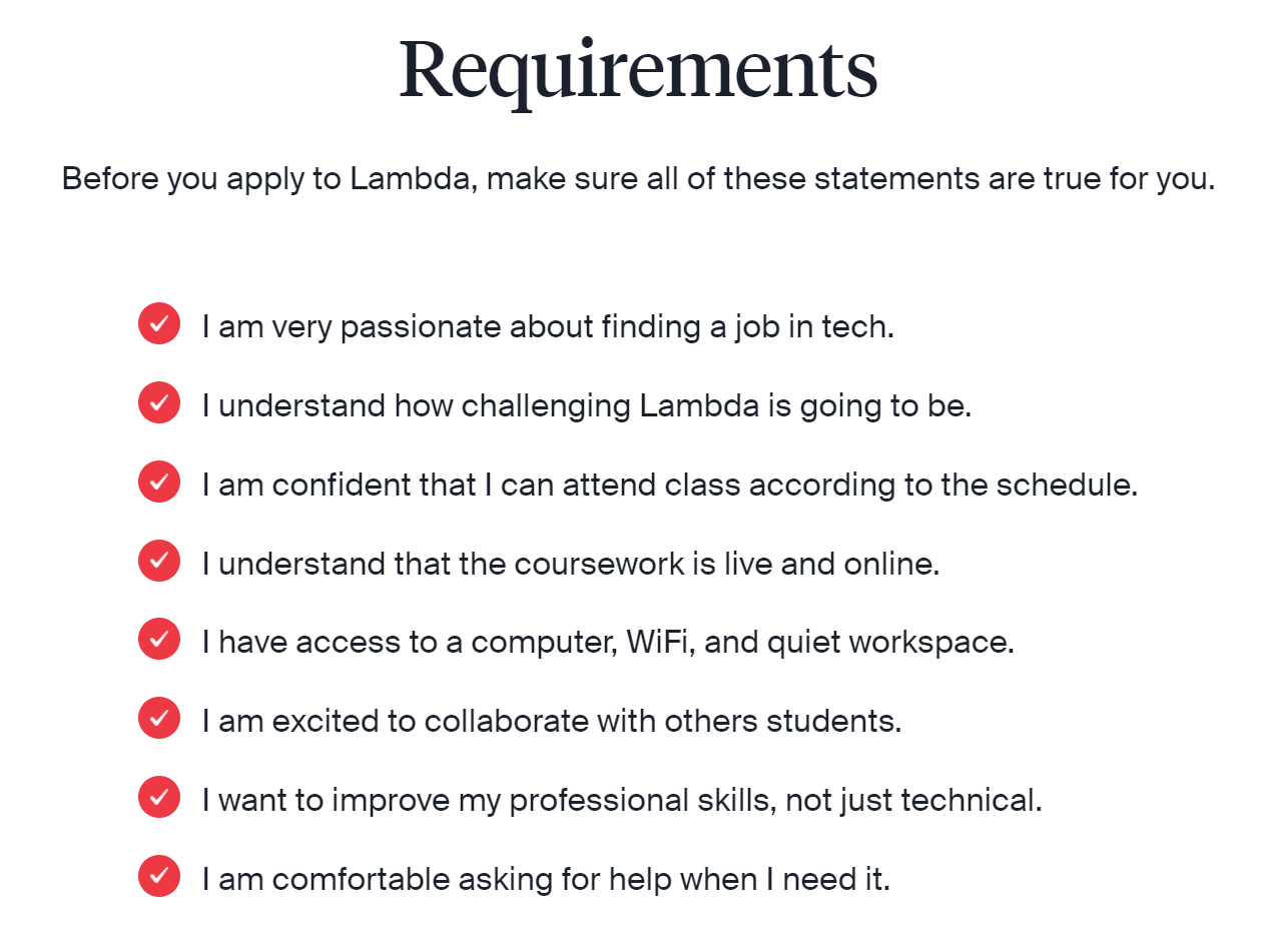 lambda school application requirements for students