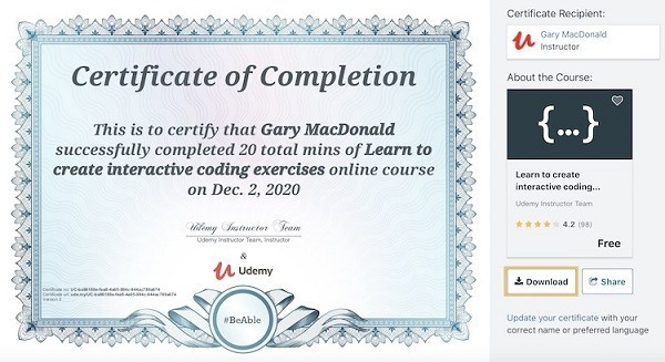udemy review of benefits - certificate of completion