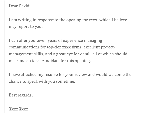 How long should a cover letter be - example of ideal word count